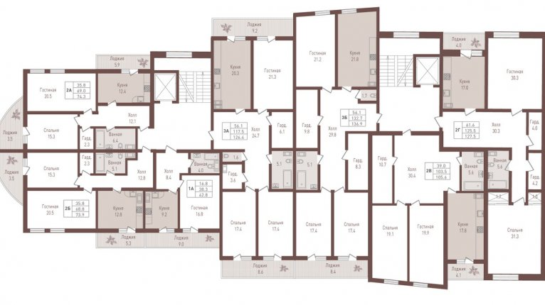 «Ярославский удел» («Дом на Ярославском, 39»): План 3-5 этажей
